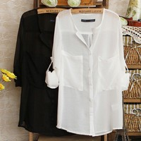 Women's Spinning V-neck Chiffon Shirt