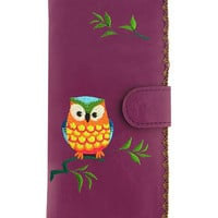 LAVISHY owl vegan leather/imitation leather large embroidered wallet