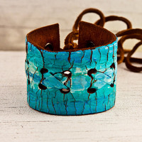 Turquoise Jewelry Cuff OOAK Laced Lacing Lace by rainwheel on Etsy