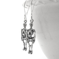 Mothers Day Sale Skeleton Earrings, Sterling Silver