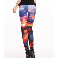 FREE SHIPPING Red and Blue Sun Earth Galaxy Legging K814