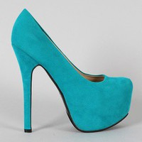 Kari-01 Suede Almond Toe Platform Pump