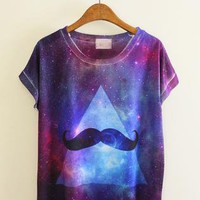 Shiny Galaxy And Mustache Print T-shirt