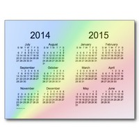 Rainbow 2014-2015 School Year Mini Calendar Post Card from Zazzle.com