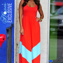 HOPE'S: Chevron Maxi Dress: Red/Aqua | Hope's