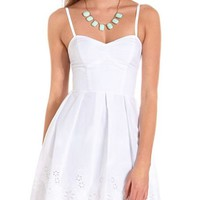 Elastic Back Eyelet Hem Dress: Charlotte Russe