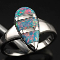 Refinement Rainbow Fire Opal Women Gemstone Jewelry Silver Ring Size 7 OR2801