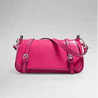 [49.99] Futuristic PU Double Belt-buckle Rosy Shoulder Handbag - Dressilyme.com