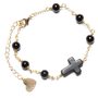 Brandy ♥ Melville |  Black Cross Bead Chain Bracelet - Accessories