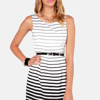 Radiant Gradient Black and Ivory Striped Dress