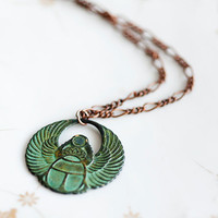 Egyptian Scarab Necklace Good Luck Pendant Patina by SilentRoses