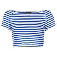 Stripe Bardot Crop - Topshop USA
