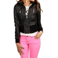 Black Faux Leather Long Sleeve Jacket