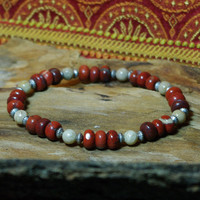 Red Jasper and Fossil Coral  Meditation Bracelet        - Find Your Zen