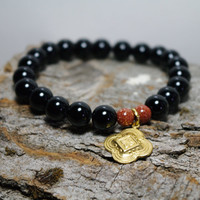 Black Onyx and Goldstone Beaded Meditation Bracelet with Boho Brass Charm
