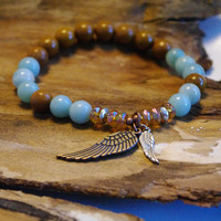 Angel Wings - Amazonite and Camel Jasper Bracelet              - Meditation Stretch Bracelet