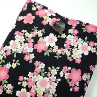 "Kimono Macbook Air 11"" Case, Great Gift Ideas, Gift For Her, Customize To Your Laptop Japanese Cotton Fabric Cherry Blossoms Black"
