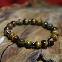 Tiger Eye Gemstone Beaded Stretch Meditation Bracelet - Focus the Mind