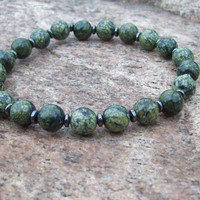 Serpentine and Hemalyke Meditation Beaded Stretch Bracelet - Men's Inspiration