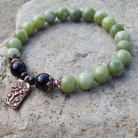 ZEN Earth Energy Lotus Meditation Beaded Stretch Bracelet -               Green Serpentine and Onyx