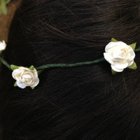 Teen Idle  White or Ivory Flower Crown Rose Headband by BellsNGems