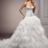 Ivory & Pewter Crystal Embellished Strapless Sweetheart Layered Tulle Nikkita Wedding Gown - Unique Vintage - Prom dresses, retro dresses, retro swimsuits.