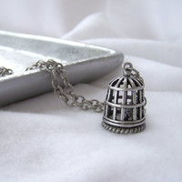 Long Brushed Silver Chain Necklace with Birdcage Pendant - Long Necklace - Handmade Jewelry - Ready to Ship