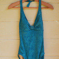 Vintage Turquoise Ombre Swimsuit One Piece by founditinatlanta