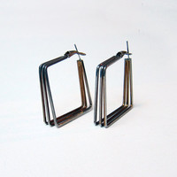 Vintage retro 1970s gold and silver tone square hoop earrings