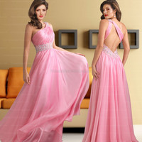 Formal Dresses Australia  A-line One Shoulder Chiffon Pink Beading Formal Dresses at Edressestore.com.au