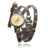 Dark brown Leather Wrap Watch with Flower Pendant