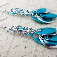 Turquoise Blue Scale Dangle Earrings - Turquoise Blue Chainmaille Earrings