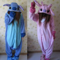 Adult Animal Kigurumi Pajamas Costume Cosplay Stitch Onesuit Blue Stitch Pink 