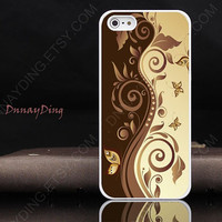 Classic  butterfly and leaf spray  white golden Custom design  for iphone 4 iphone 5 case HTC case i9300