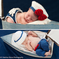 Newborn Twins  Sailor Girl nand Sailor Boy Photo Prop Set /Sailor Prop/Nautical Newborn Prop/ Newborn Photo Prop/ Ruffle Diaper Cover