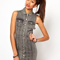 Motel Amelia Dress In Washed Denim at asos.com