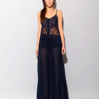 Navy lace panel long dress [Bla1844] - $375.00 : Pixie Market, Fashion-Super-Market