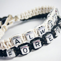 Wedding Jewelry Forever Always Bracelets Set of 2 Hemp Bracelets MADE TO ORDER-3 Week production time