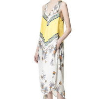 PRINTED DRESS WITH ASYMMETRIC HEM - Dresses - Woman - ZARA United States
