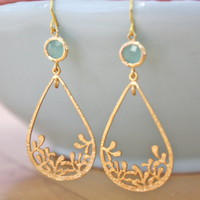 Blue and Gold Teardrop Earrings