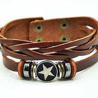 Women leather bracelet star pendant brown Leather bracelet Charm Bracelet  high quality bracelet  RZ0239