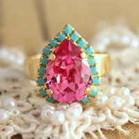 Pink turquoise adjustable ring  14 k plated gold by iloniti