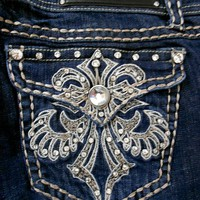 La Idol Women Plus Size Jeans Crystal Fleur De Lis Flap Bootcut Stretch in Dark Blue