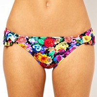 ASOS Floral Ruffle Bikini Hipster Pant at asos.com
