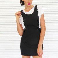 Dress Mini Scalloped Pinafore in Black