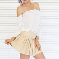 Skirt Mini Pleat in Nude Pleather