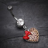 Leopard Pattern Heart Bow Belly Ring