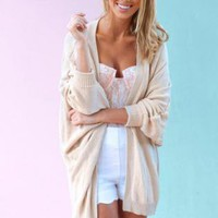 Beige Long Sleeve Batwing Cardigan with Ribbed Hem Detail