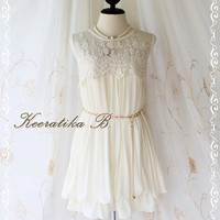 Angel Flying  - Romance Sweet Gorgeous Swing Pastel Dress Cocktail Wedding Prom Party Bridesmaid Pleated And Lace Dress