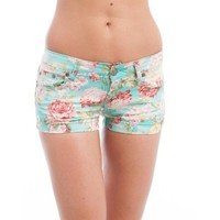 Bright Floral Denim Shorts
